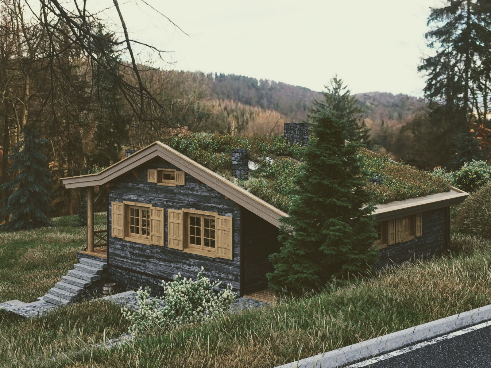 Visualization of a Wooden House in the Forest