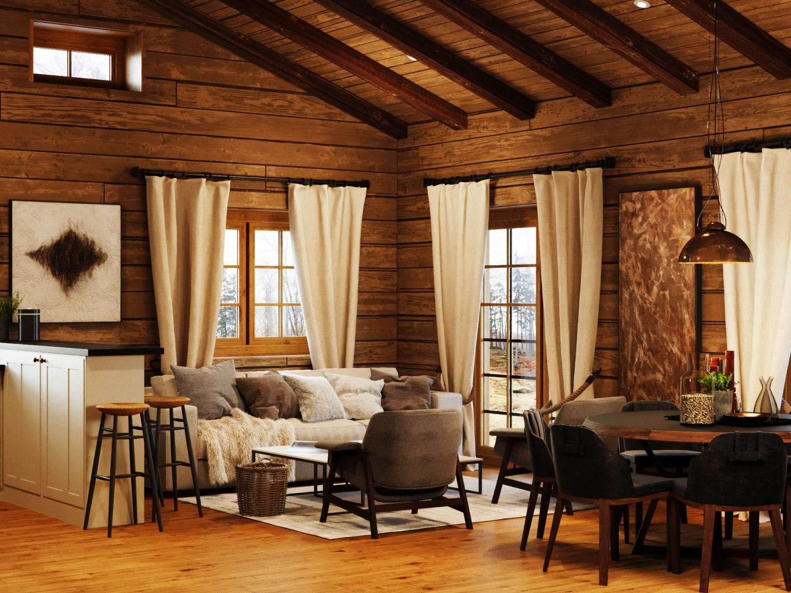 Interior Visualisation of a Chalet in the Alps